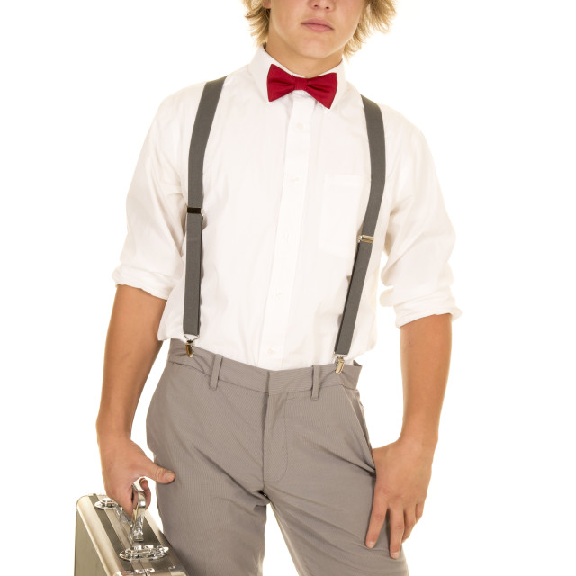 """young man with case red bow tie look"" stock image"