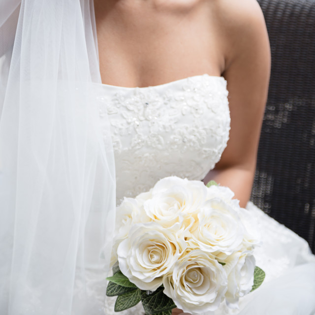 """Bride with bouquet"" stock image"