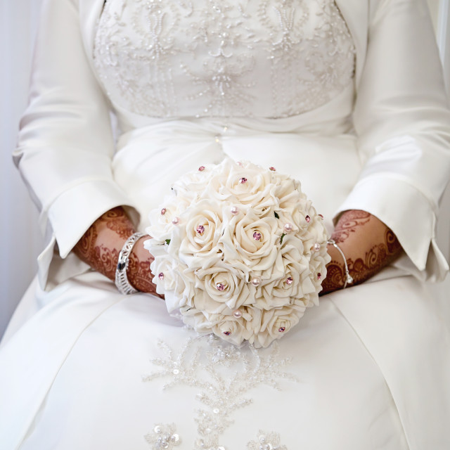 """""""Holding bouquet"""" stock image"""