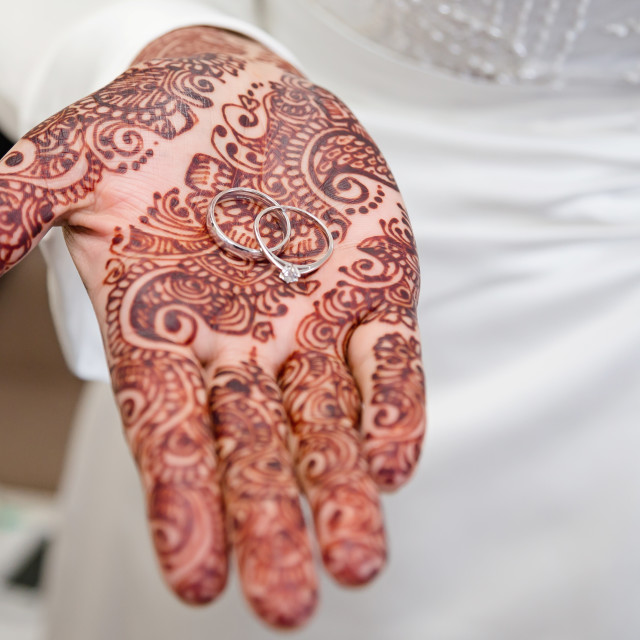 """""""Bride holding rings"""" stock image"""
