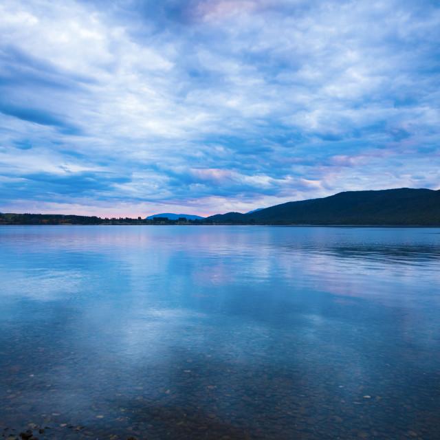 """Sunset over Lake Manapouri"" stock image"