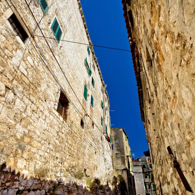 """Old stone street of Sibenik"" stock image"