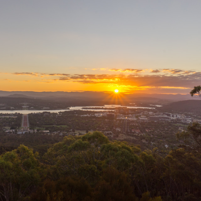 """Sunset Over Canberra City, Australia"" stock image"