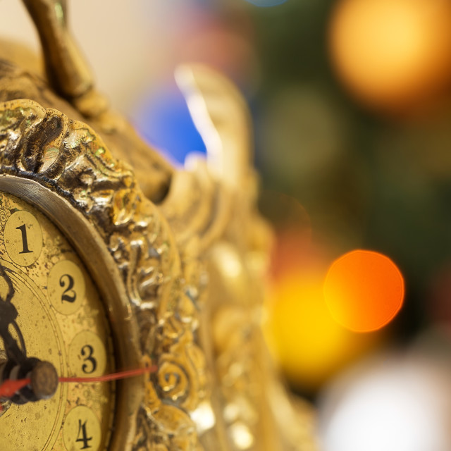 """Happy New Year, clock before midnight"" stock image"