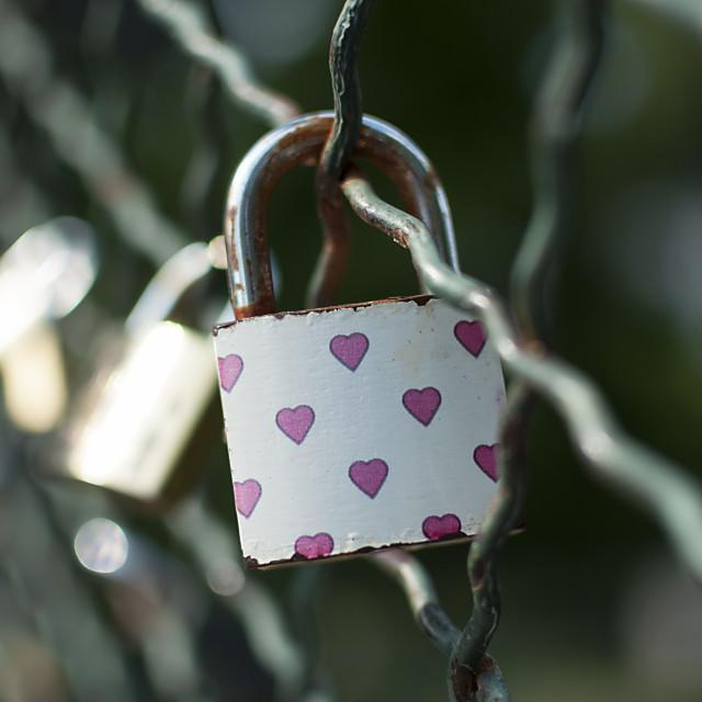 """Padlocks symbolizing everlasting love"" stock image"