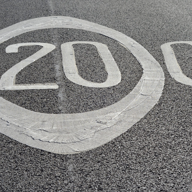 """""""20's Plenty... what about 200?"""" stock image"""