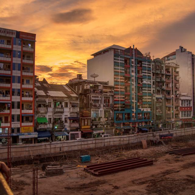 """The building up of Yangon, Myanmar"" stock image"