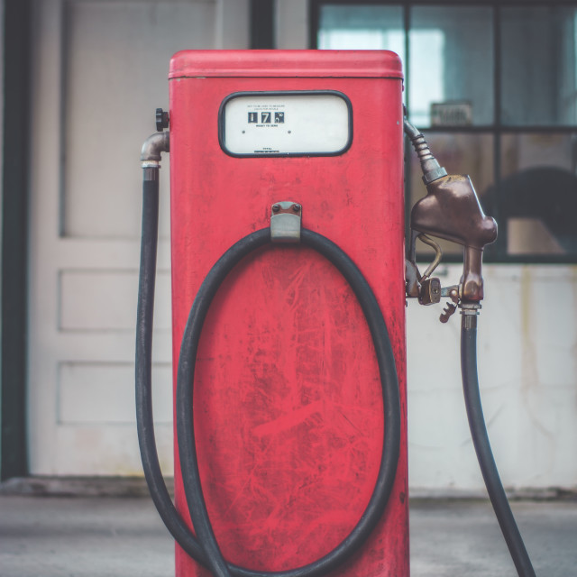 """Classic vintage red fuel pumps."" stock image"