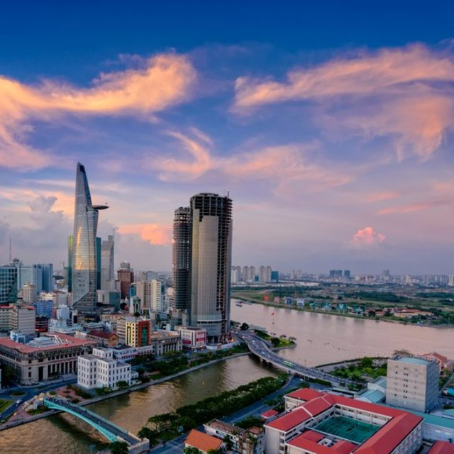 """Saigon Skyline in the evening"" stock image"