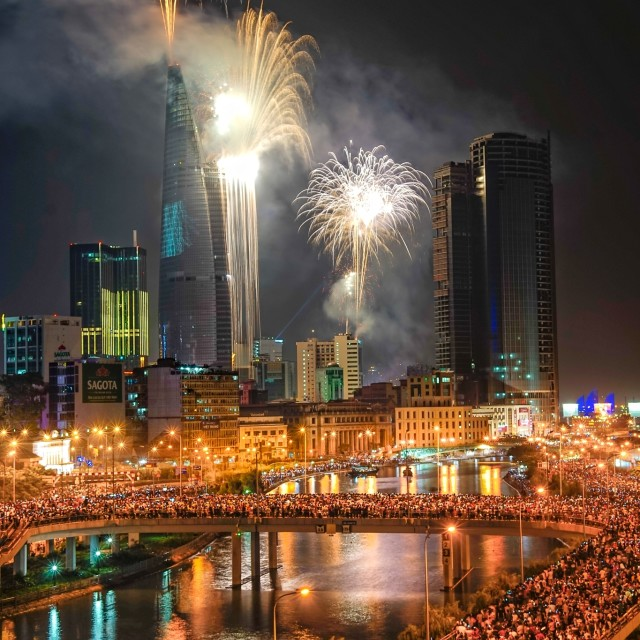 """Saigon New Year Eve Firework"" stock image"