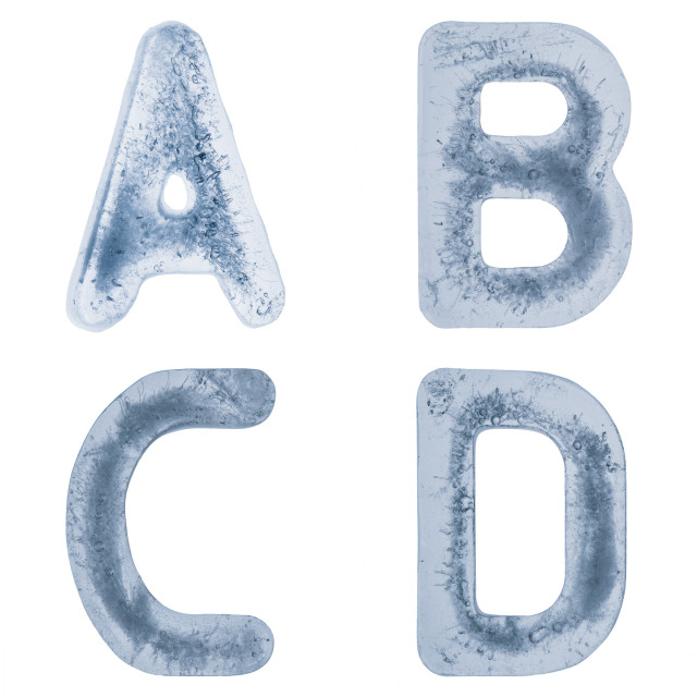 """""""Letters A,B,C and D in ice"""" stock image"""