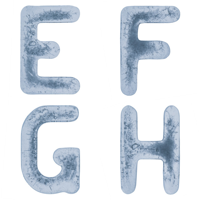 """""""Letters E, F, G and H in ice"""" stock image"""