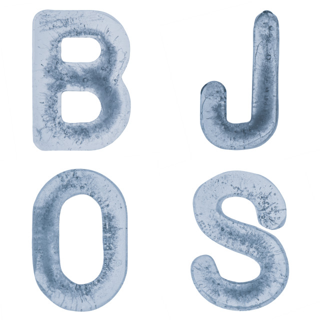 """""""Letters J, O, B and S in ice"""" stock image"""