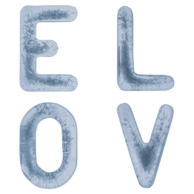 """""""Letters L, O, V and E in ice"""" stock image"""