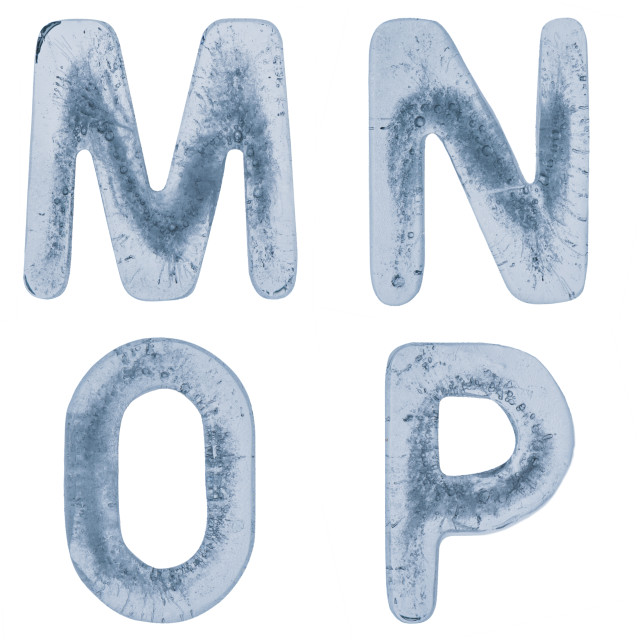 """""""Letters M, N, O and P in ice"""" stock image"""