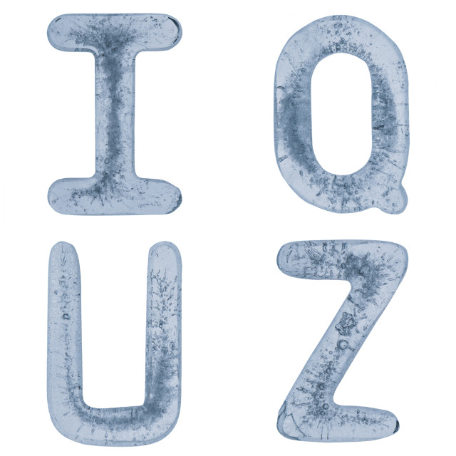 """""""Letters Q, U, I and Z in ice"""" stock image"""