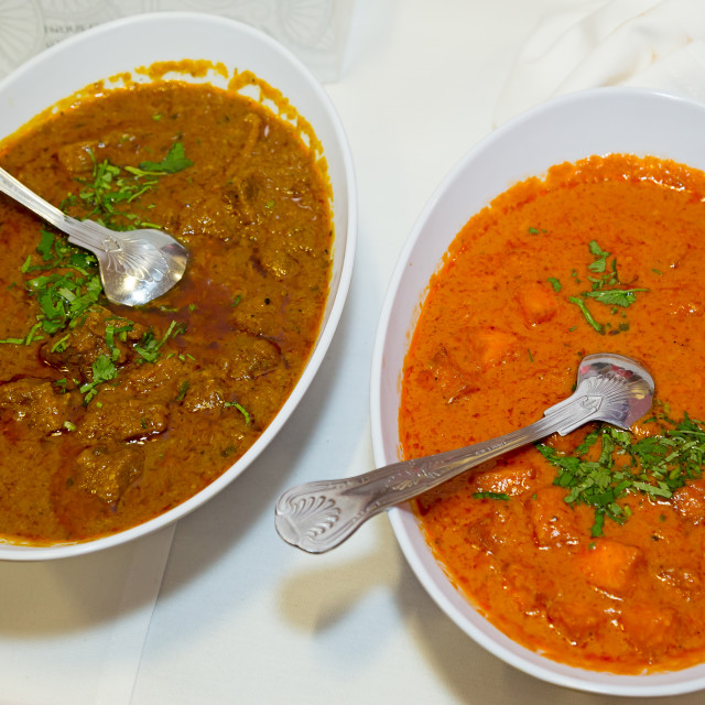 """""""Chicken lamb curries"""" stock image"""