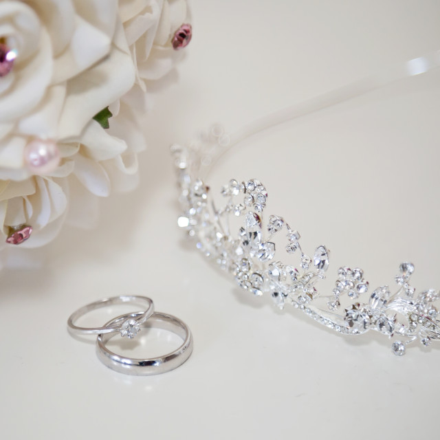 """Ring tiara and bouquet"" stock image"