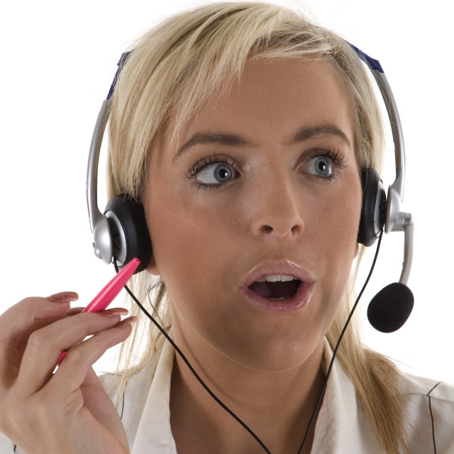 """Surprised Customer Services Operator"" stock image"
