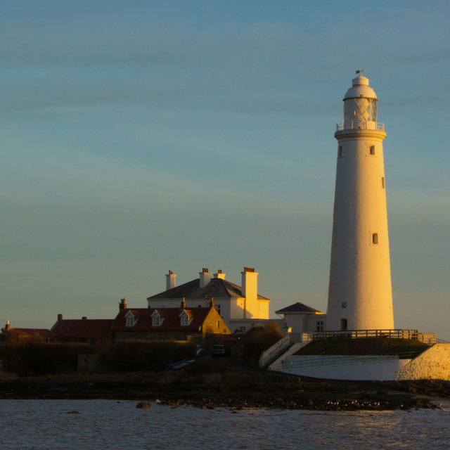 """St Mary's Lighthouse Sunrise"" stock image"