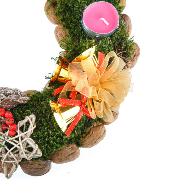 """Advent wreath candles christmas on white background"" stock image"