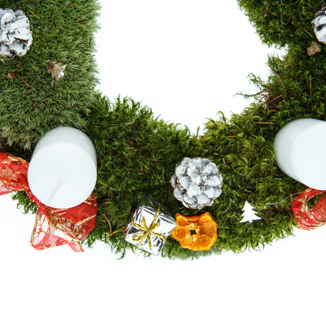 """Christmas advent wreath with candles on white background"" stock image"