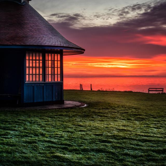 """Watching the Sunrise at Frinton"" stock image"