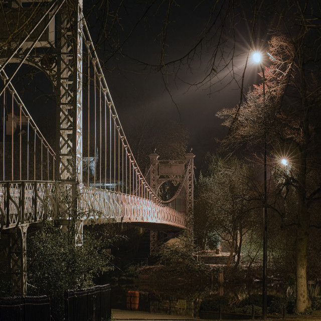 """Queens Park Bridge by night"" stock image"