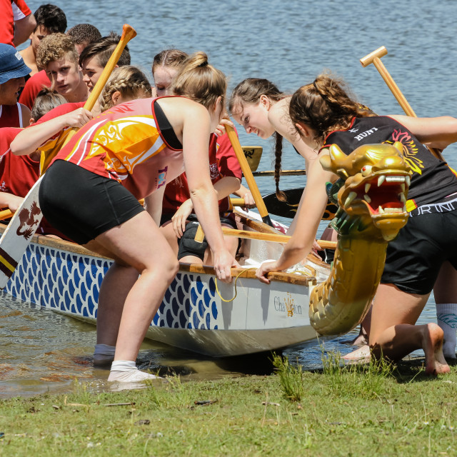 """launching a dragon boat"" stock image"