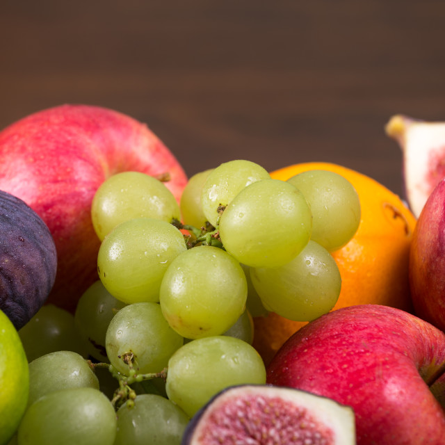 """""""Assortment fruits on wooden table"""" stock image"""