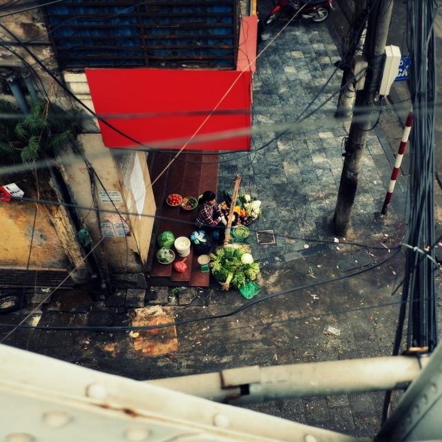 """Vegetable street vendor"" stock image"