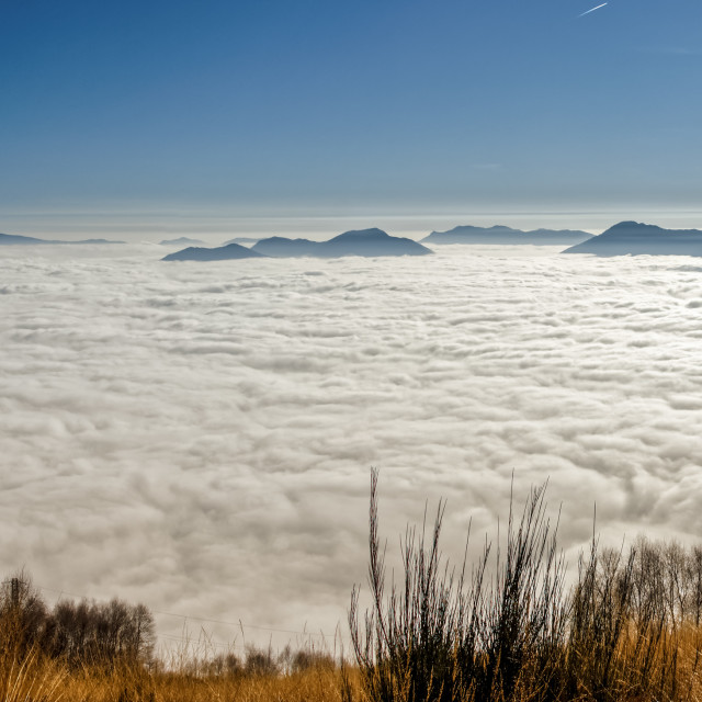 """""""Carpet of clouds over the Alps"""" stock image"""