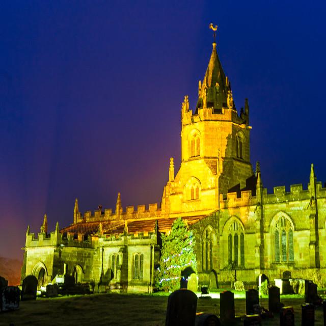 """""""Tong Church at Night"""" stock image"""