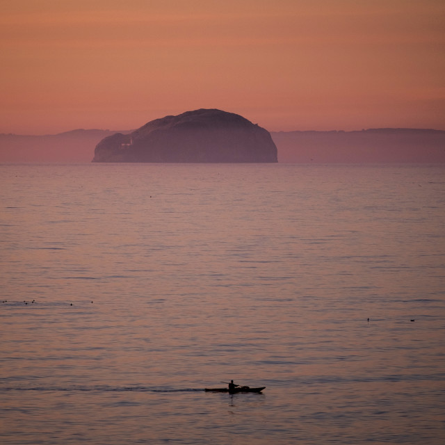 """Kayaker and Bass Rock"" stock image"