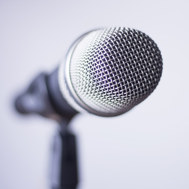 """Professional voice microphone on stand"" stock image"