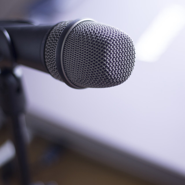 """Home studio voice microphone on stand"" stock image"
