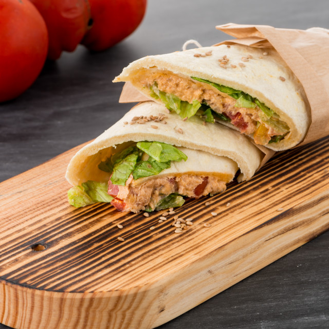 """""""Tortilla with chicken and vegetables"""" stock image"""