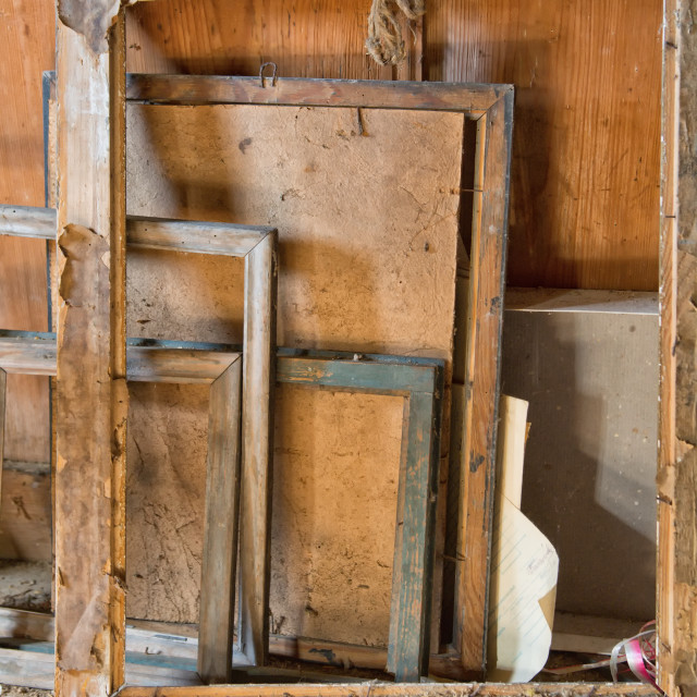 """Old wooden frames for paintings"" stock image"