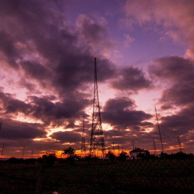 """Radio Tower with sky background"" stock image"