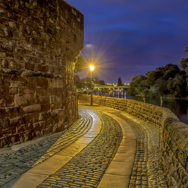 """Roman Chester city walls by night"" stock image"