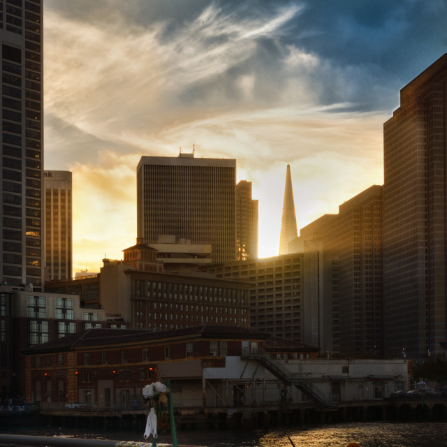 """""""Sunset downtown"""" stock image"""