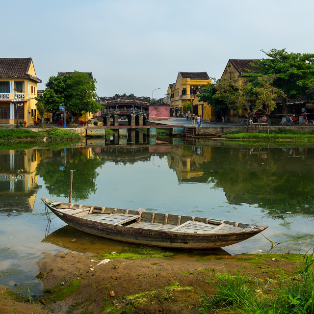 """Fishing Boat and Canal in Hoi An South Vietnam"" stock image"
