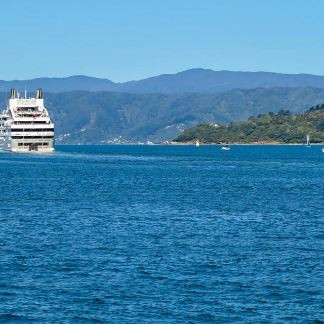 """Leaving Wellington harbour"" stock image"