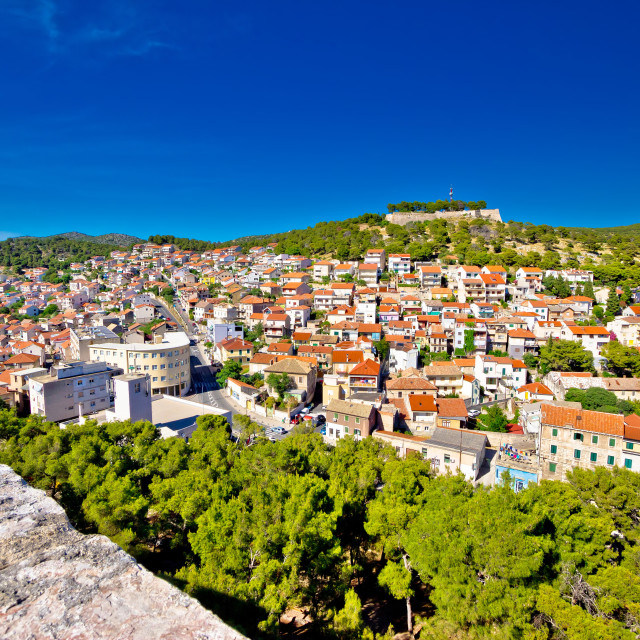 """Town of Sibenik and hill fortress view"" stock image"