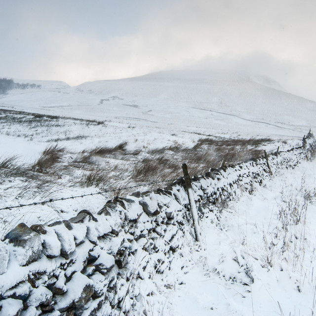 """""""Snow Road to Mam Tor"""" stock image"""