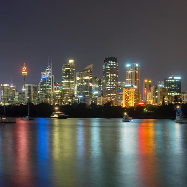 """Sydney City Skyline at Night"" stock image"