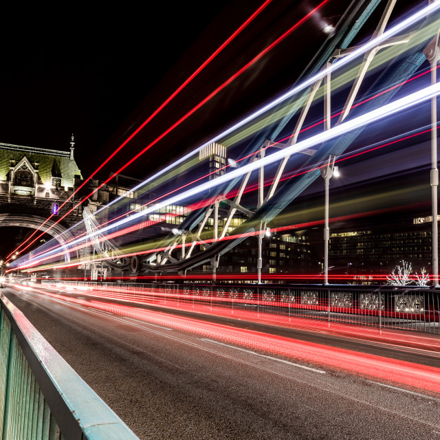 """Tower Bridge Traffic Trails"" stock image"