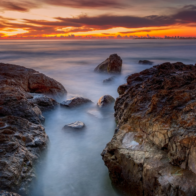 """Misty Morning Dawn Currumbin Gold Coast"" stock image"