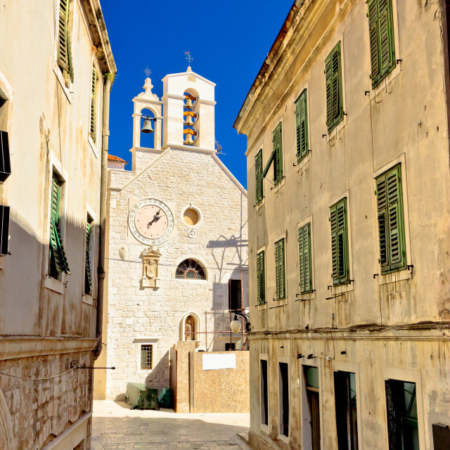 """Stone chapel in streets of Sibenik"" stock image"