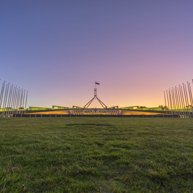 """Parliament House Australia during sunset"" stock image"